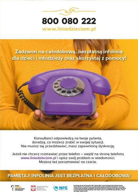 Całodobowa Bezpłatna Infolinia dla dzieci, młodzieży, rodziców i nauczyciel